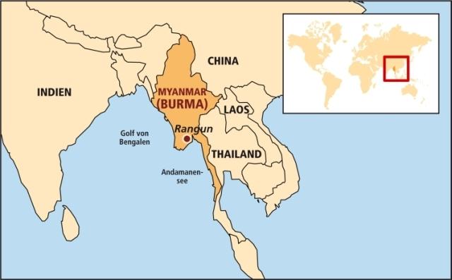 Burma liegt zwischen Thailand, Laos, China, Indien, Bangladesch und dem Golf von Bengalen